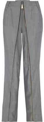 Alexander Wang Zip-detailed Wool And Mohair-blend Straight-leg Pants