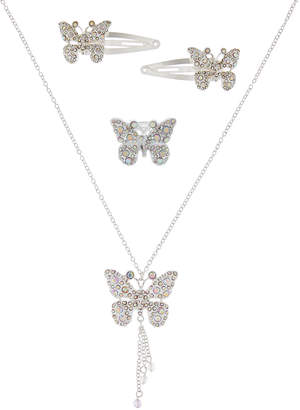 Monsoon Glitzy Butterfly Necklace Ring & Hair Clips