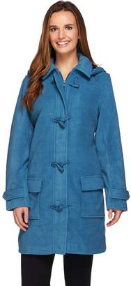 Denim & Co. Microfleece Fully Lined Toggle Coat w/ Removable Hood