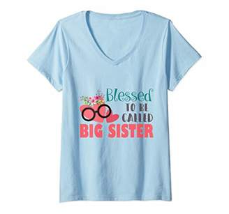 Womens Blessed To Be Called Big Sister Hearts Flower V-Neck T-Shirt