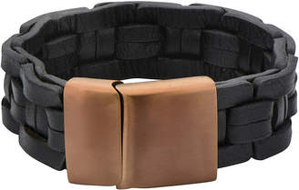 JCPenney FINE JEWELRY Mens Black Leather Link-Style Braided Bracelet