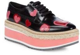 Prada Heart-Print Leather Flatform Espadrille Oxfords