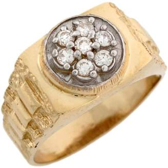 Rolex Jewellery Liquidation Canada 14k Two Toned Real Gold CZ Cluster Inspired Band Ring