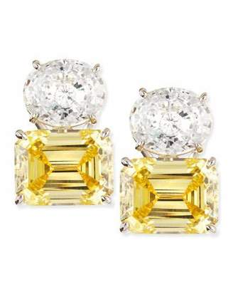 FANTASIA White Oval & Canary Emerald-Cut Stud Earrings
