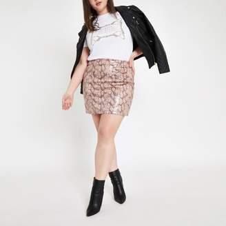 River Island Womens Plus Pink faux leather snake print mini skir