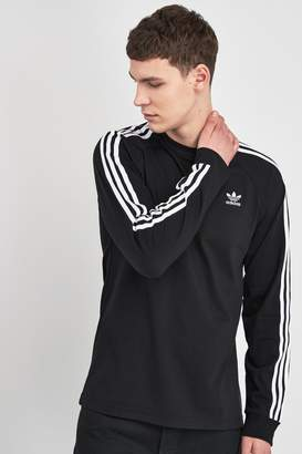 adidas Mens 3 Stripe Long Sleeved T-Shirt - Black