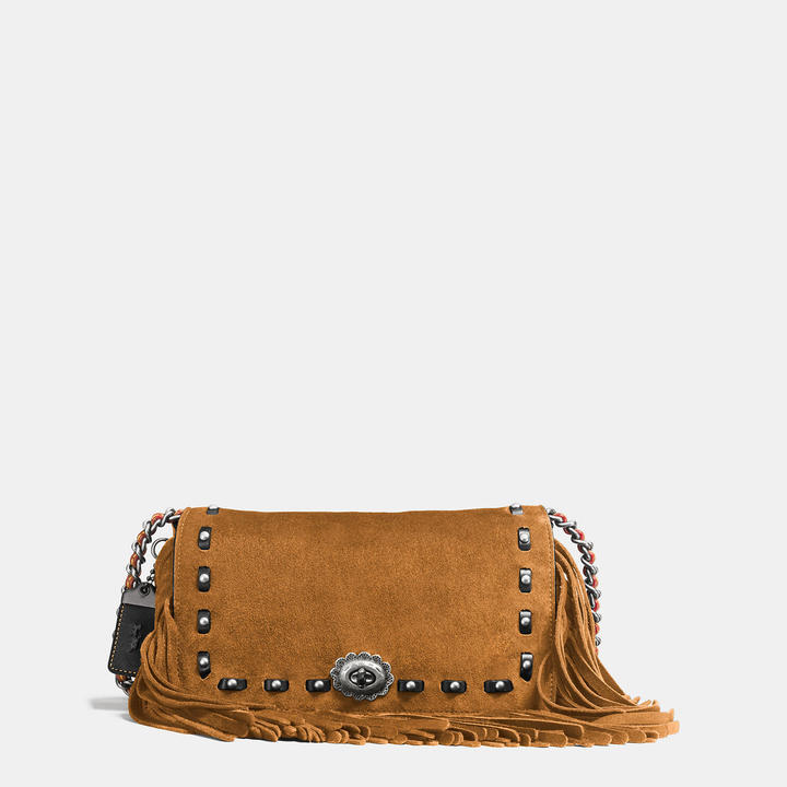 Coach   COACH Coach Dinky In Cervo Suede With Fringe