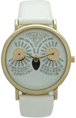 Olivia Pratt Oliva Pratt Women's Sparkly Owl White Leather Watch