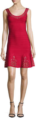 Herve Leger Grommet Scoop-Neck Ruffled Dress, Lipstick Red