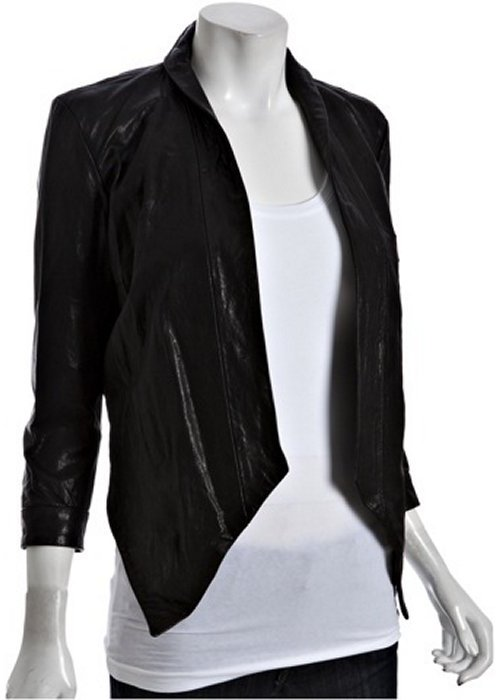 PRPS black leather open front jacket