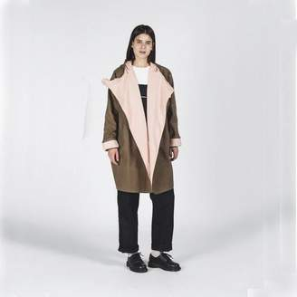 Kate Sheridan Sand And Peach Batwing Waxed Cotton Coat - Pink/Brown