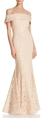 Eliza J Off-the-Shoulder Lace Gown