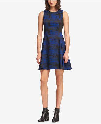 DKNY Faux-Leather-Trim Fit & Flare Dress