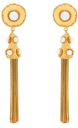 Sylvia Toledano - Pompom Faux Pearl Tassel Drop Earrings - Womens - Gold