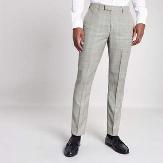 River Island Mens Grey check slim fit suit trousers