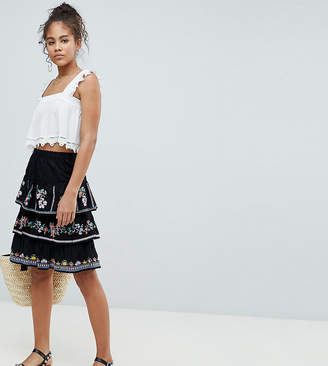 Asos Tall DESIGN Tall tiered mini sun skirt with embroidery