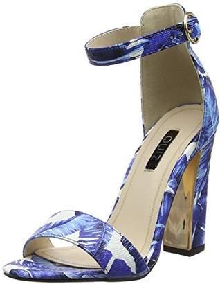 8a4e944f37d Quiz Women s Leaf Print High Heel Sandals Open Toe (Blue 00)