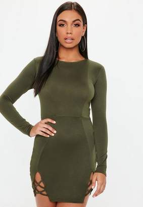 Missguided Green Round Neck Stretch Bodycon