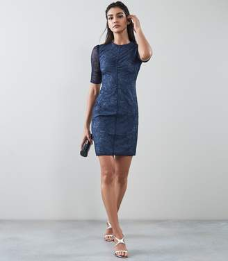 Reiss WILLO LACE BODYCON DRESS Navy