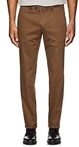 Hiltl Men's Stretch-Cotton Flat-Front Trousers-Beige, Tan Size 32