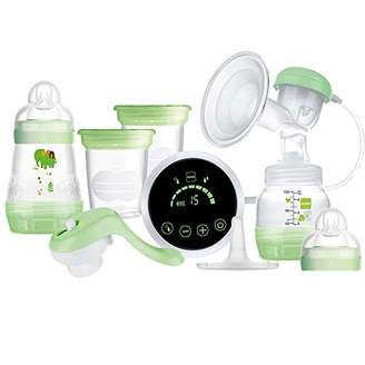 Mam Electric 2 in 1 Single Breast Pump, Flexible Use Electric and Manual Breast Milk Pump, Comforting Silicone Breast Pump, Green (Designs May Vary)