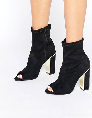 Oasis Peep Toe Gold Heeled Ankle Boot $68 thestylecure.com