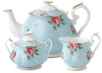 Royal Albert NEW Polka Blue 3-Piece Tea Set