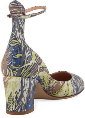 Valentino Tango Patent Block-Heel Ankle-Wrap Pump, Al Campione