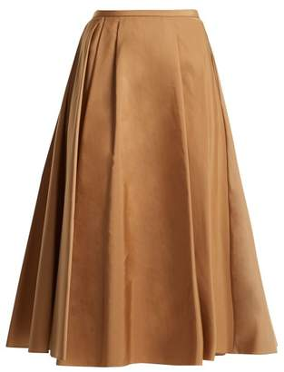 Rochas Pleated Faille Skirt - Womens - Light Brown