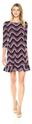 Sandra Darren Women's 1 Pc 3/4 Sleeve Printed Wave Puff Ity Dress with Flounce