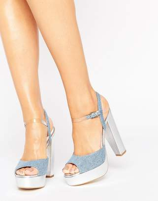 Terry De Havilland Coco Denim Platform Heeled Sandals