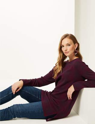 Marks and Spencer Checked Round Neck Long Sleeve Top