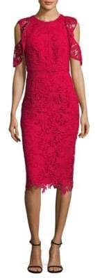 Shoshanna Midnight Cold-Shoulder Lace Midi Dress