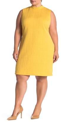 Sharagano Sleeveless Textured Plaid Dress (Plus Size)