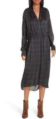 Vince Windowpane Check Silk Midi Dress
