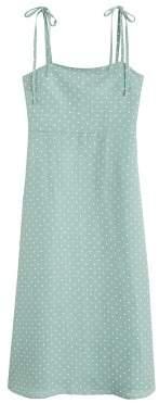 MANGO Linen strap dress aqua green - 2 - Women