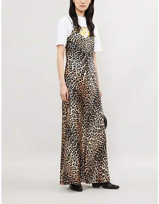 2b44fc572f92 Ganni Blakely leopard-print stretch-silk slip dress
