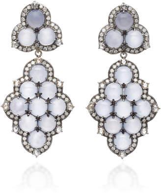 "Nam Cho Detachable 18K White Gold"" Black Rhodium"" Chalcedony and Diamond Earrings"