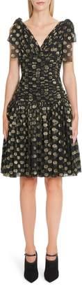 Dolce & Gabbana Fil Coupe Chiffon Fit & Flare Dress