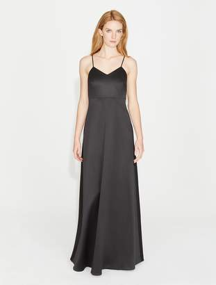 Halston Bow Back Bonded Satin Gown