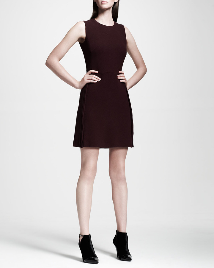 Victoria Beckham Victoria by Crewneck Stretch-Wool Shift Dress