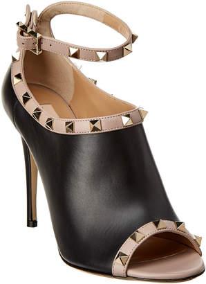 Valentino Rockstud Leather Peep-Toe Sandal