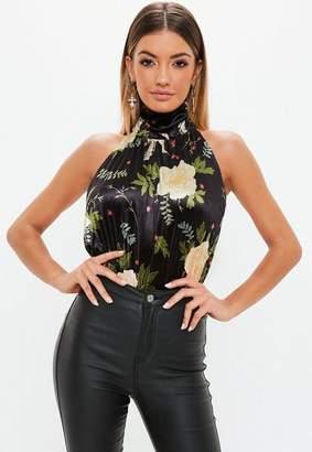 Missguided Black Velvet Floral Backless Bodysuit