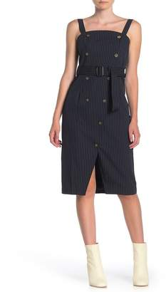 Dress Forum Pinstripe Button Front Belted Midi Dress