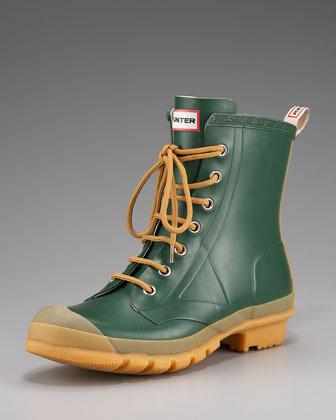 Hunter Bormio Rubber Combat Boot, Green