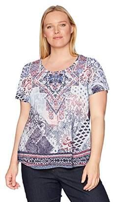 OneWorld Women's Short Sleeve Scoopneck Printed Tee