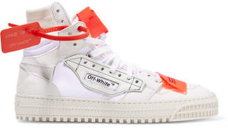 Off-White Appliquéd Logo-embellished Canvas, Textured-leather And Suede High-top Sneakers