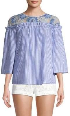 BCBGMAXAZRIA Striped Lace Top