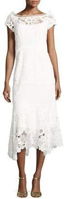 Nanette Lepore Cap-Sleeve Lace Illusion Midi Dress, Ivory $548 thestylecure.com