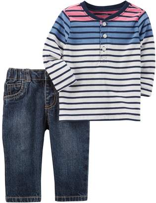 Carter's Baby Boy Striped Henley & Jeans Set